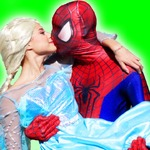 Spiderman And Elsa Kiss